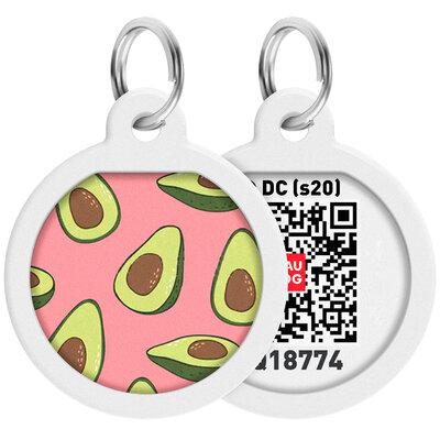 "WAUDOG Smart ID pet tag with QR passport, premium, ""Avocado 2"" design, Ø 25 mm"