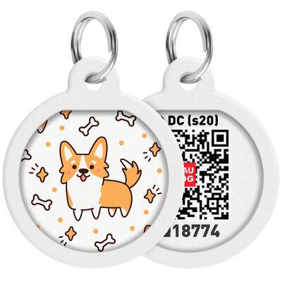 "WAUDOG Smart ID pet tag with QR passport, premium, ""Corgi"" design, Ø 25 mm"