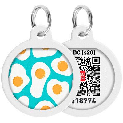 "WAUDOG Smart ID pet tag with QR passport, premium, ""Eggs"" design, Ø 25 mm"