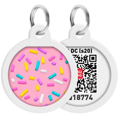 "WAUDOG Smart ID pet tag with QR passport, premium, ""Marshmallow"" design, Ø 25 mm"