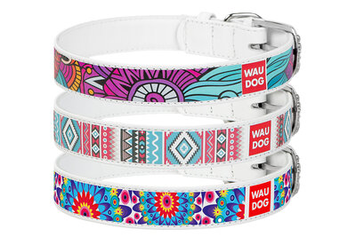 Genuine leather printed collar WAUDOG Printed Leather for small, medium, large breeds and puppies White