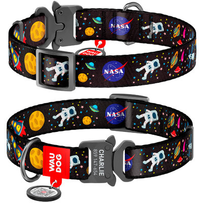 """Collar WAUDOG Nylon with a pattern """"NASA"""", melal buckle-fastex with an area for engraving and QR tag"""