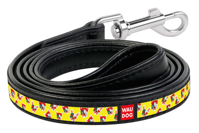 "Dog leash WAUDOG Printed with pattern ""French"", genuine leather Black"