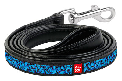 """Dog leash WAUDOG Printed with pattern """"Blue butterflies"""", genuine leather Black"""