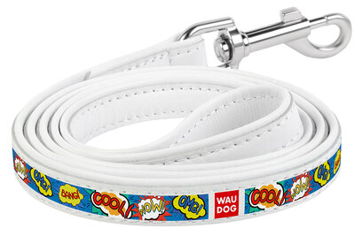 """Dog leash WAUDOG Printed with pattern """"WOW"""", genuine leather White"""