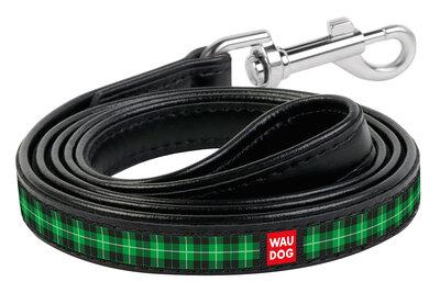 "Dog leash WAUDOG Printed with pattern ""Green tartan"", genuine leather Black"