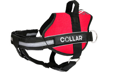 Harness DogExtremе Police N4 with replaceable stickers 70-100 cm Red (with flashlight)