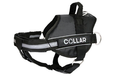 Harness DogExtremе Police N5 with replaceable stickers 85-115 cm Black (with flashlight)